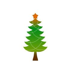 christmas tree emblem symbol of new year fir-tree vector image