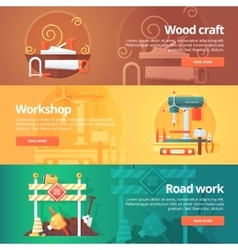 Construction and building banners set vector image vector image