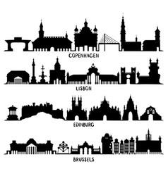 Copenhagen lisbon edinburgh and brussels vector