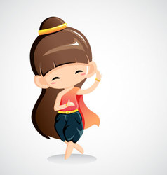 Cute girl in national costume -Thai dance vector image