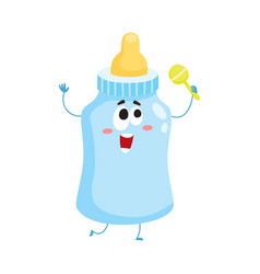 funny baby milk feeding bottle character mascot vector image