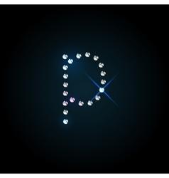 Gems letter Shiny diamond font vector image