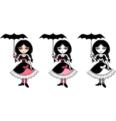 Little goth emo girl with umbrella vector image vector image