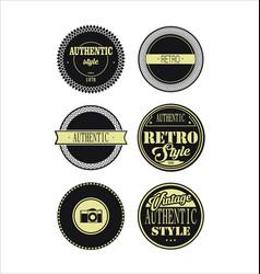 vintage labels black and beige set 3 vector image vector image