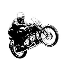 Vintage motorcycle racer vector