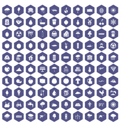 100 fruit icons hexagon purple vector