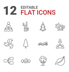12 tree icons vector