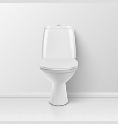 3d realistic white closed ceramic toilet in vector