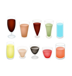 A Set of Refreshing Sweet Drink in Glass vector