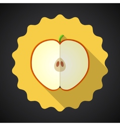 Apple Fruit Flat Icon with long shadow vector