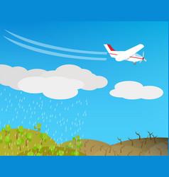 artificial rain rainmaking cloud seeding vector image