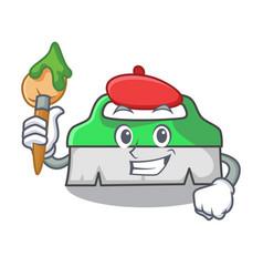 artist scrub brush character cartoon vector image