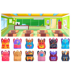 Back to school classroom and backpack vector