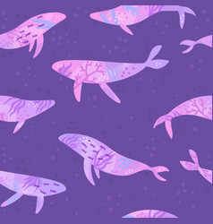 beautiful violet underwater whales vector image