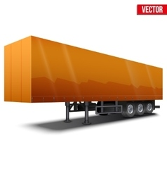 Blank orange parked semi trailer vector