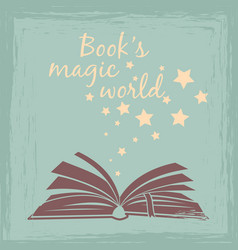 Books magic worlds vintage poster vector