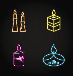 bright candles icon set in neon line style vector image