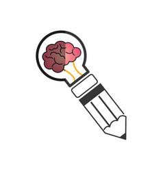 bulb light with brain vector image