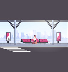 Businesswoman sitting modern bus stop business vector