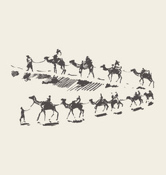 Caravan camels desert rawn sketch drawn vector
