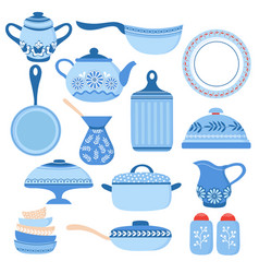 cartoon cookware kitchen crockery and glassware vector image