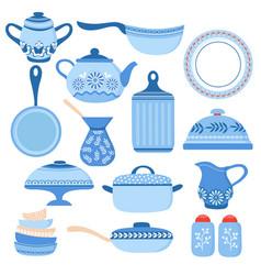 Cartoon cookware kitchen crockery and glassware vector