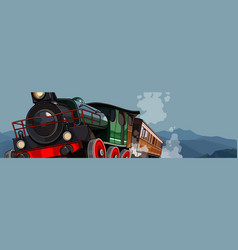 Cartoon vintage steam train rides on a background vector