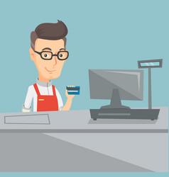 Cashier holding a credit card at the checkout vector