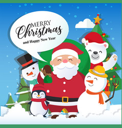 Christmas background with santa claus and merry vector