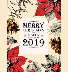 Christmas card with holly and pine cones vector