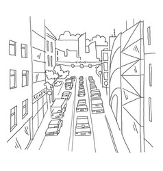 City street traffic jam linear perspective sketch vector