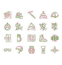 Color linear icon set climbing hiking vector