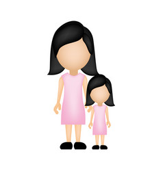 color silhouette faceless with mother and daughter vector image