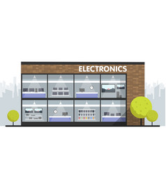computers and electronics store building and vector image