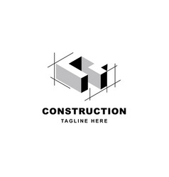 Construction logo design with letter q shape icon vector