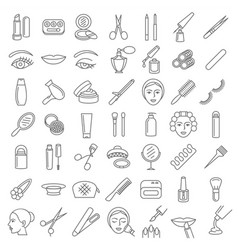 Cosmetic beauty and make up icon set vector
