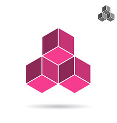 Cubes collected together cube icon vector image