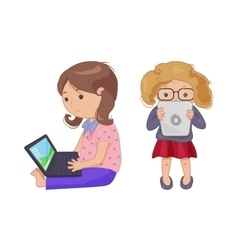 Cute young girl with computer laptop tablet e vector