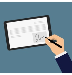 Digital signature tablet vector image
