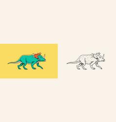 Dinosaur triceratops skeletons fossils vector