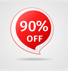 discount sticker with 90 percent off vector image