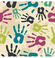 Diversity vintage hand prints pattern vector image