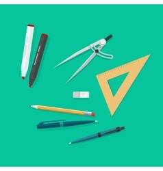 Education items school study tools icons set vector