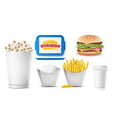 fast food mock up set white clean blank vector image