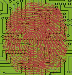 Fingerprint pressed onto a Digital Circuit Board vector