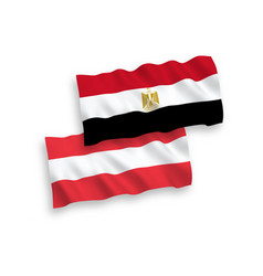 Flags austria and egypt on a white background vector