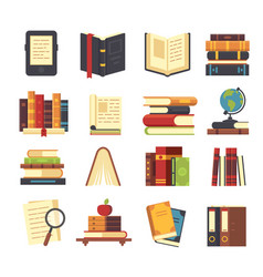 Flat book icons library books open dictionary vector