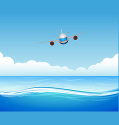 Flying plane over sea vector