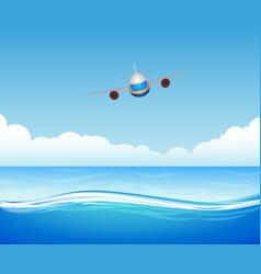 flying plane over sea vector image