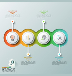 four overlapping translucent round elements with vector image